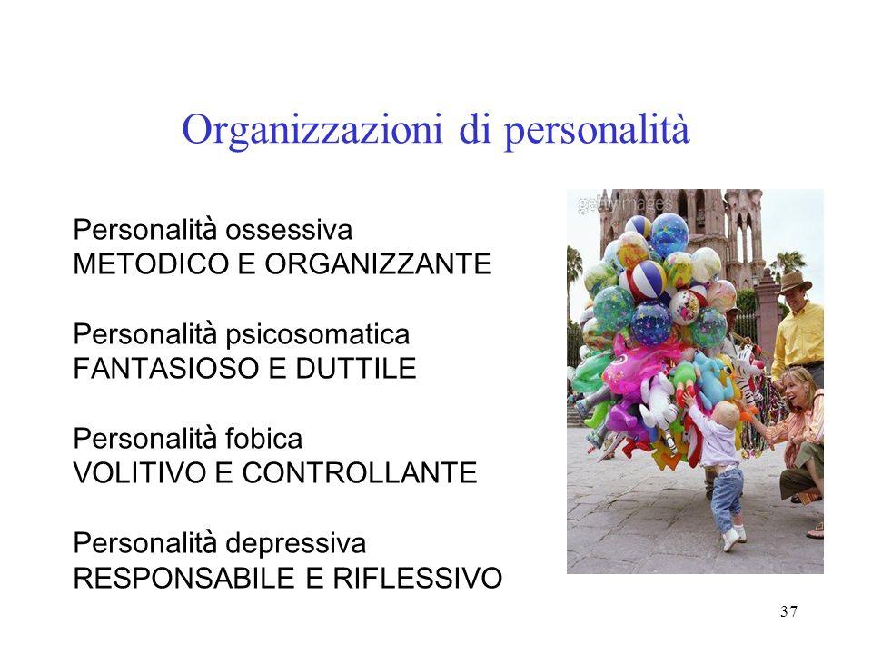 37 Organizzazioni di personalità Personalit à ossessiva METODICO E ORGANIZZANTE Personalit à psicosomatica FANTASIOSO E DUTTILE Personalit à fobica VO