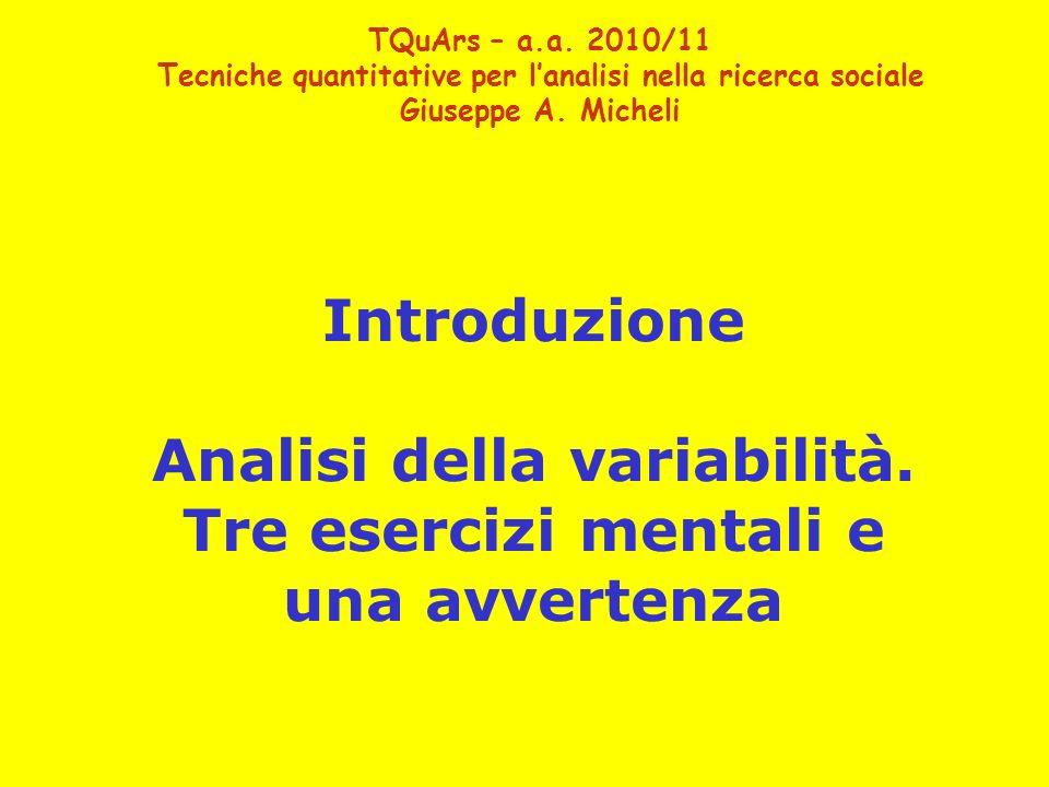 TQuArs – a.a. 2010/11 Tecniche quantitative per lanalisi nella ricerca sociale Giuseppe A. Micheli Introduzione Analisi della variabilità. Tre eserciz