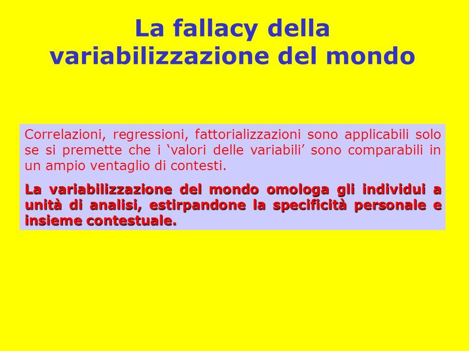 La fallacy della variabilizzazione del mondo Correlazioni, regressioni, fattorializzazioni sono applicabili solo se si premette che i valori delle variabili sono comparabili in un ampio ventaglio di contesti.