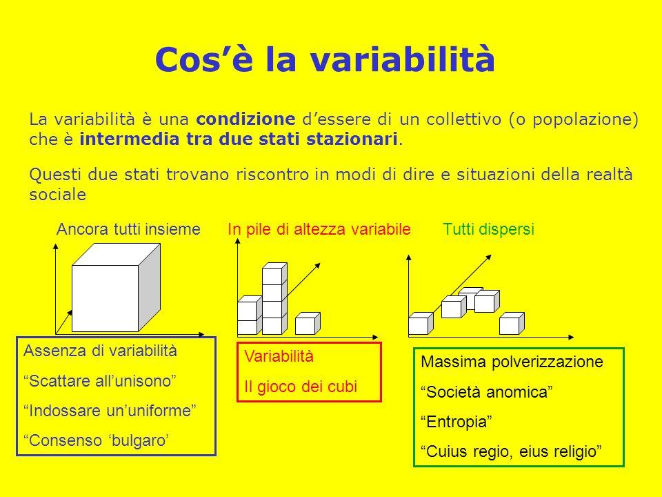 Cosè la variabilità La variabilità è una condizione dessere di un collettivo (o popolazione) che è intermedia tra due stati stazionari. Questi due sta