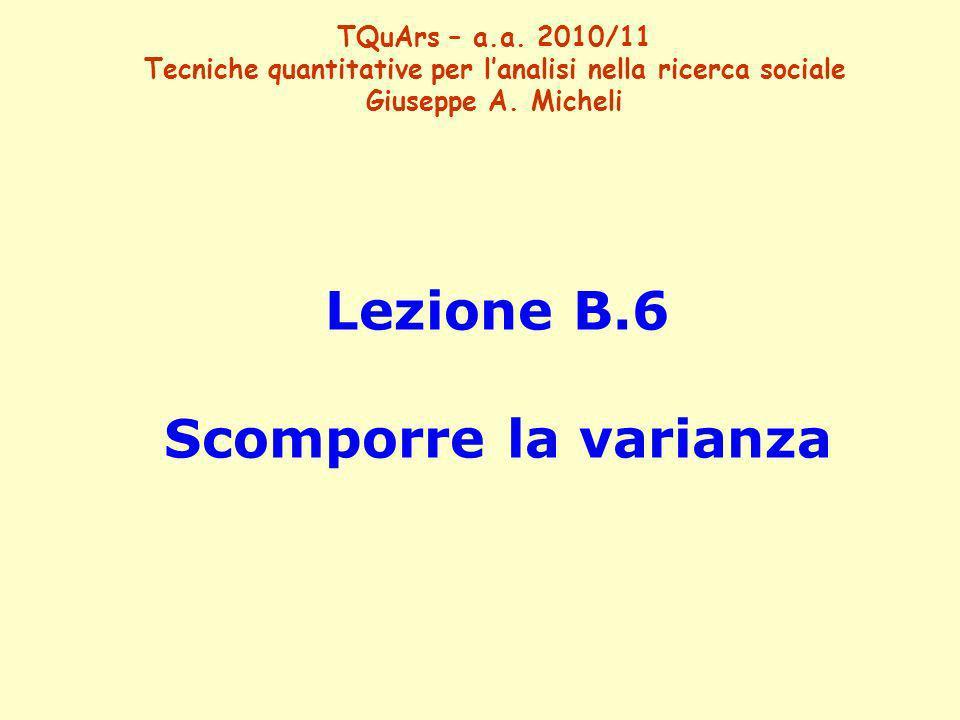Lezione B.6 Scomporre la varianza TQuArs – a.a. 2010/11 Tecniche quantitative per lanalisi nella ricerca sociale Giuseppe A. Micheli