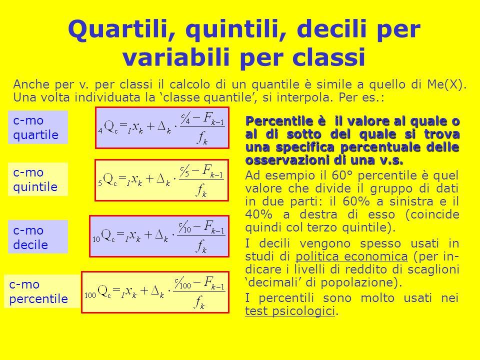 Quartili, quintili, decili per variabili per classi Anche per v. per classi il calcolo di un quantile è simile a quello di Me(X). Una volta individuat