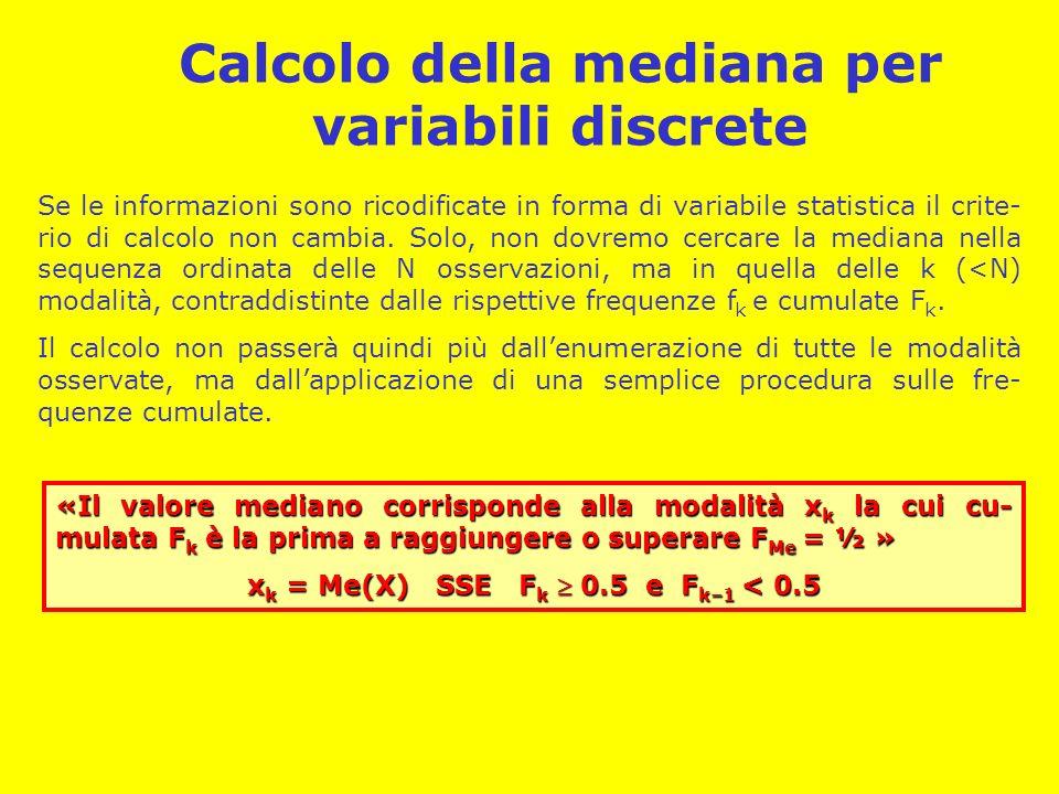 Calcolo della mediana per variabili discrete Se le informazioni sono ricodificate in forma di variabile statistica il crite- rio di calcolo non cambia