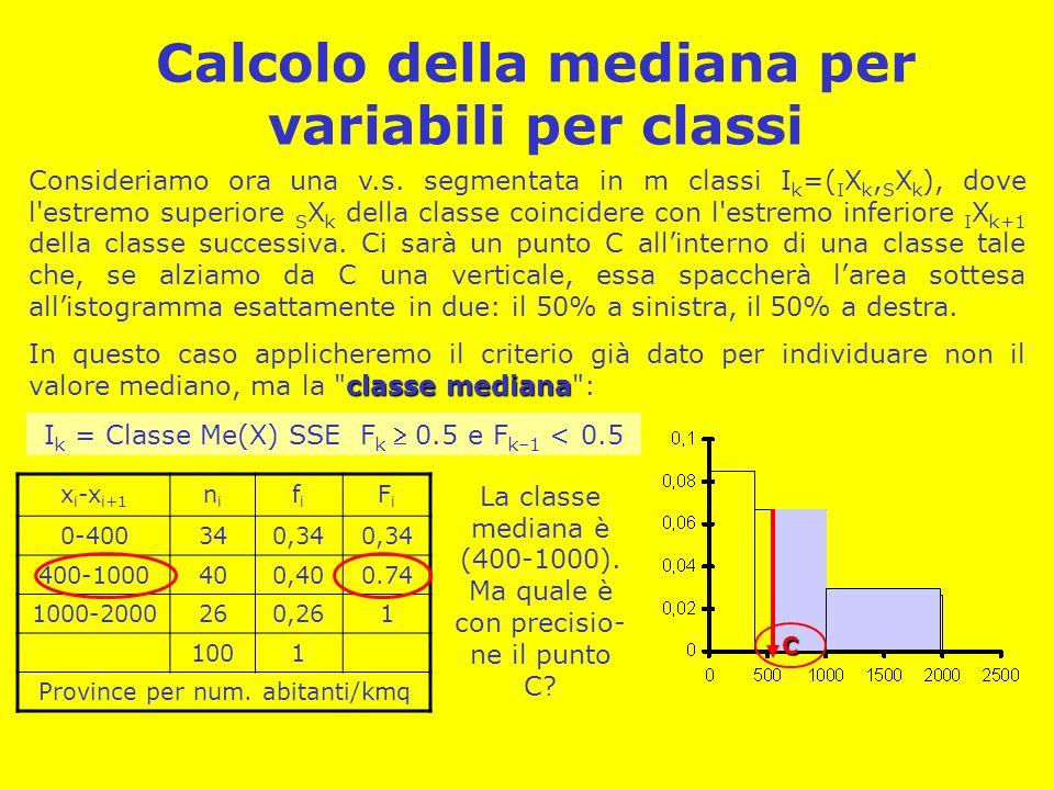 Calcolo della mediana per variabili per classi Consideriamo ora una v.s. segmentata in m classi I k =( I X k, S X k ), dove l'estremo superiore S X k