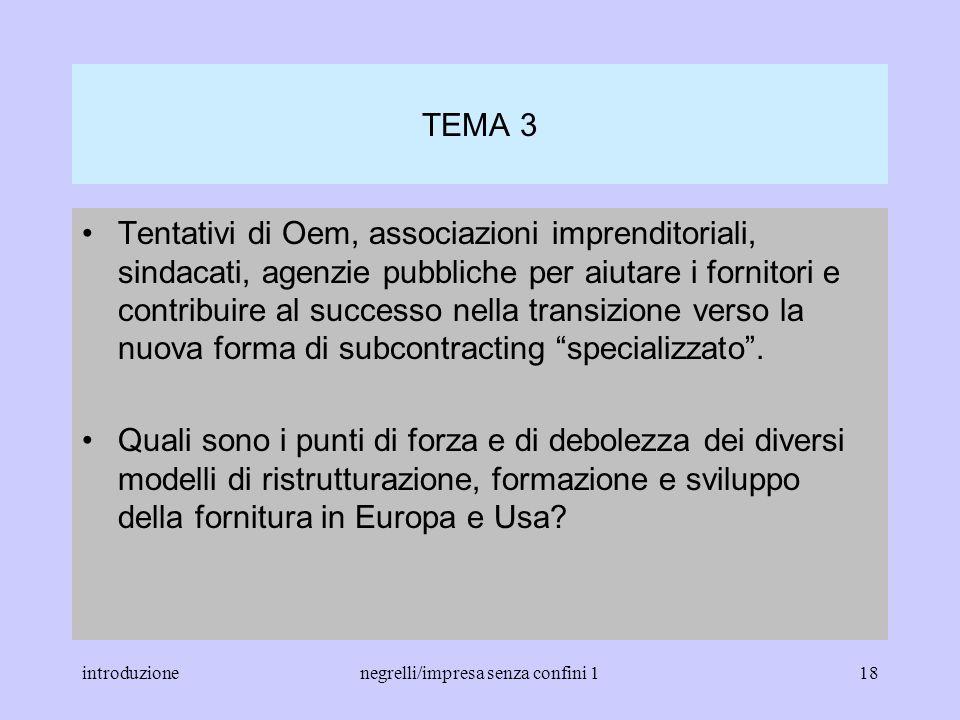 introduzionenegrelli/impresa senza confini 117 TEMA 2 Problemi di cooperazione tra grandi Oem e fornitori su prodotti, sviluppo, logistica, riduzione