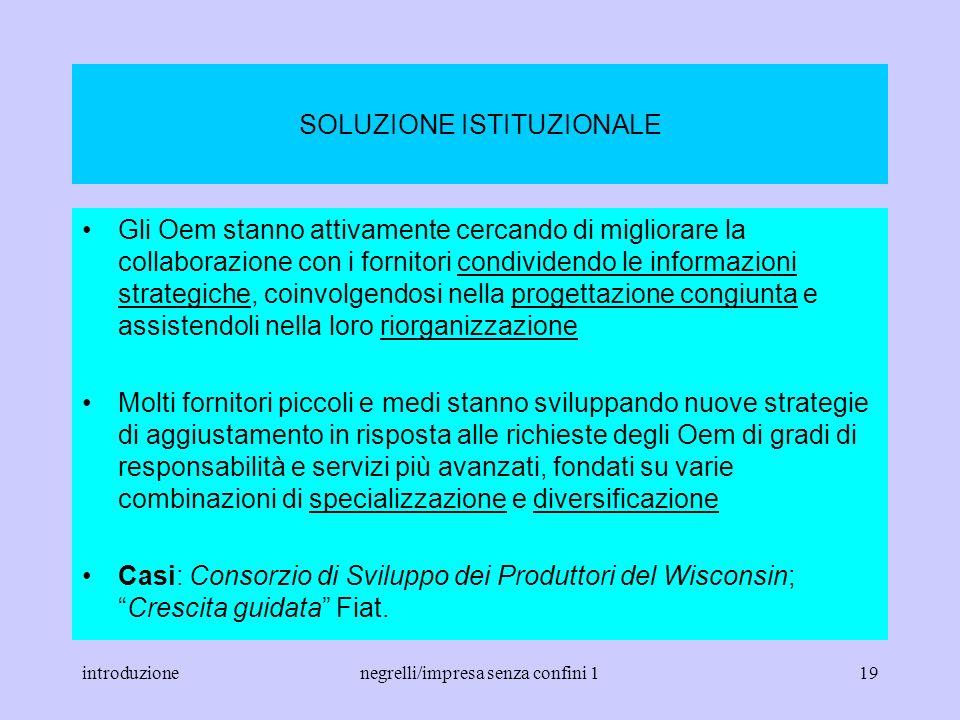 introduzionenegrelli/impresa senza confini 118 TEMA 3 Tentativi di Oem, associazioni imprenditoriali, sindacati, agenzie pubbliche per aiutare i forni
