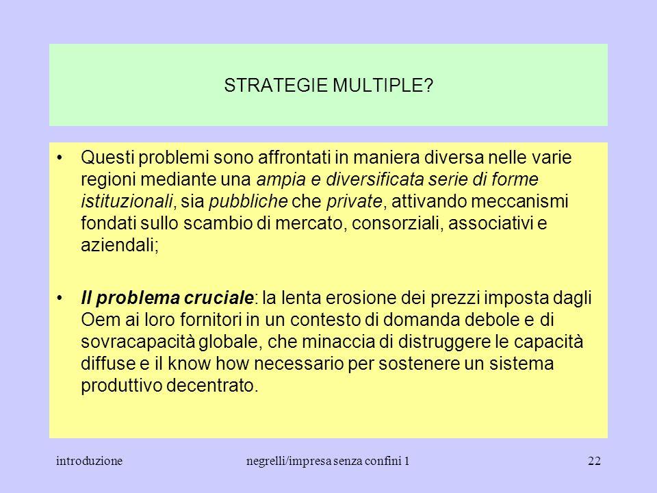 introduzionenegrelli/impresa senza confini 121 STRATEGIE MULTIPLE? Diversità delle strategie aziendali e dei meccanismi istituzionali per la governanc