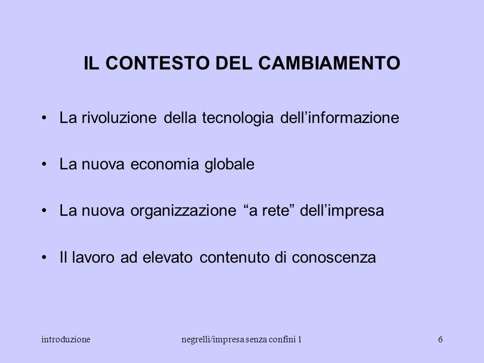 introduzionenegrelli/impresa senza confini 15 informazione dati che sono stati organizzati e comunicati (Porat, 1977) ma anche: comunicazione della co