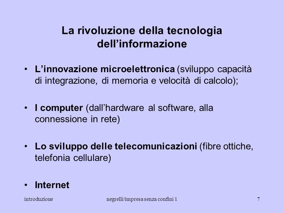 introduzionenegrelli/impresa senza confini 16 IL CONTESTO DEL CAMBIAMENTO La rivoluzione della tecnologia dellinformazione La nuova economia globale L