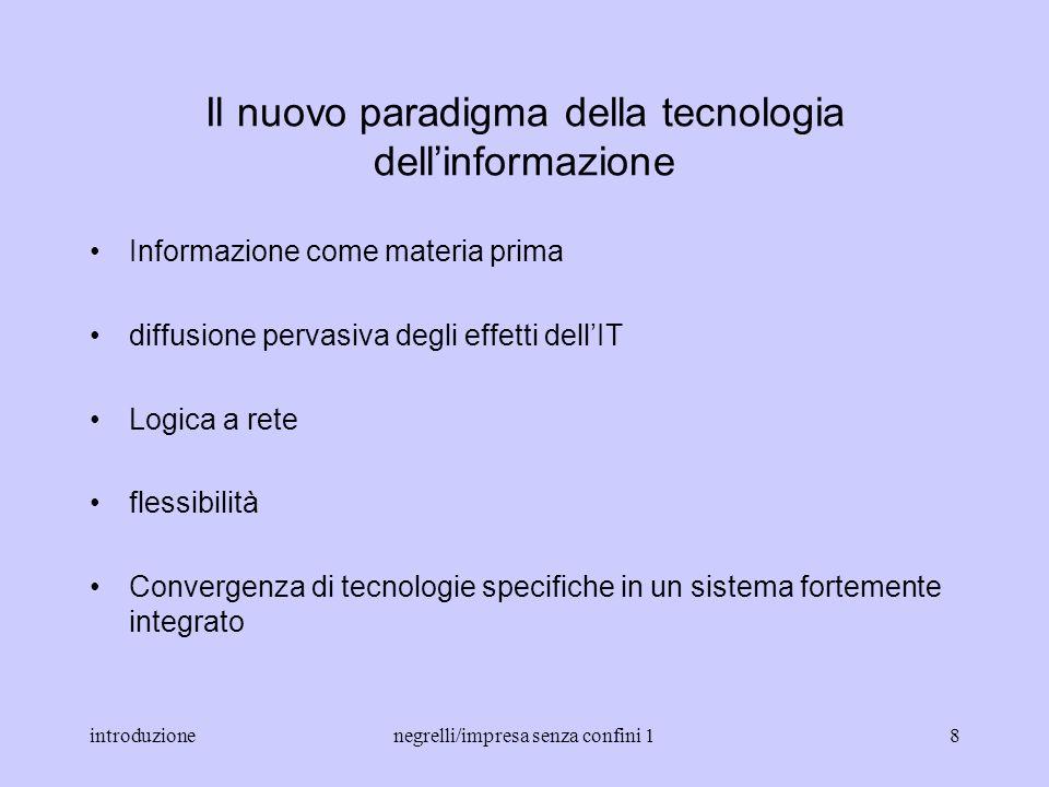 introduzionenegrelli/impresa senza confini 17 La rivoluzione della tecnologia dellinformazione Linnovazione microelettronica (sviluppo capacità di int