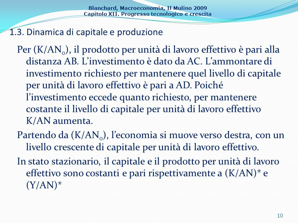 Blanchard, Macroeconomia, Il Mulino 2009 Capitolo XII. Progresso tecnologico e crescita 1.3. Dinamica di capitale e produzione Per (K/AN 0 ), il prodo