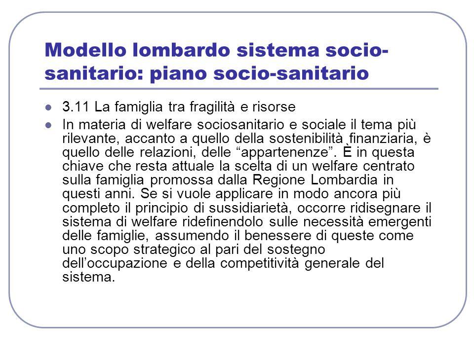Modello lombardo sistema socio- sanitario: piano socio-sanitario 3.11 La famiglia tra fragilità e risorse In materia di welfare sociosanitario e socia