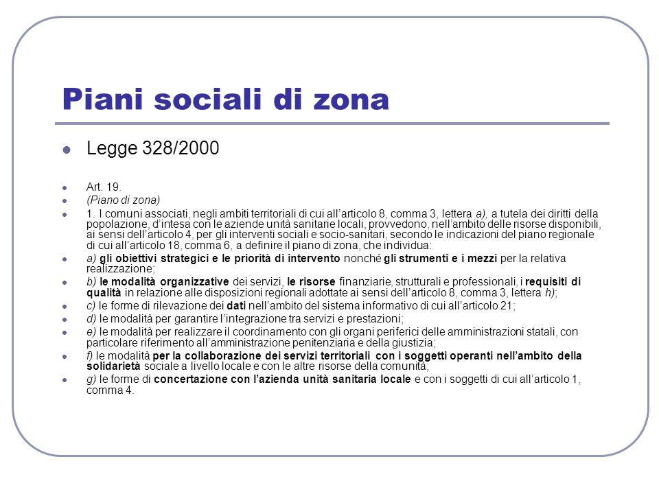 Piani sociali di zona Legge 328/2000 Art. 19. (Piano di zona) 1. I comuni associati, negli ambiti territoriali di cui allarticolo 8, comma 3, lettera