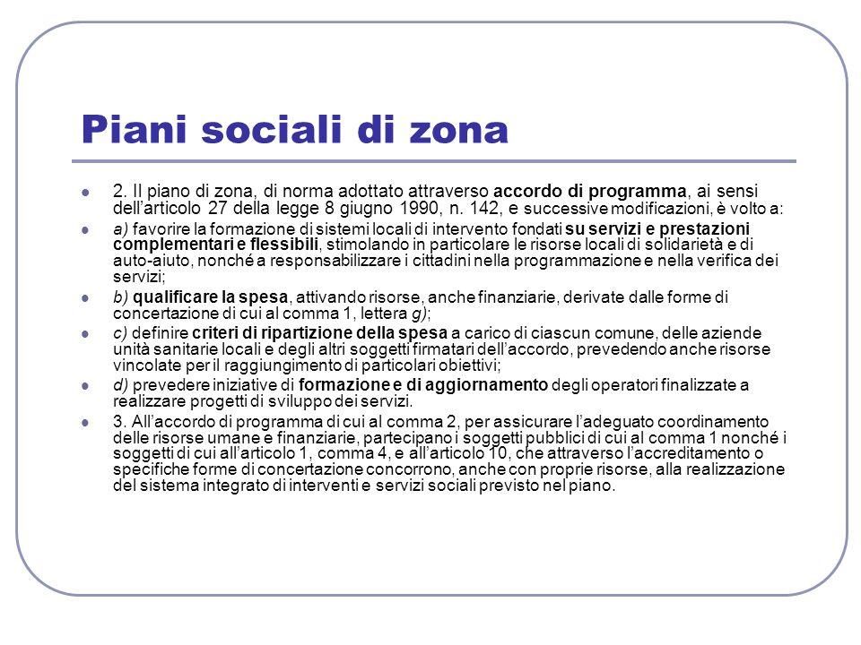 Piani sociali di zona 2. Il piano di zona, di norma adottato attraverso accordo di programma, ai sensi dellarticolo 27 della legge 8 giugno 1990, n. 1