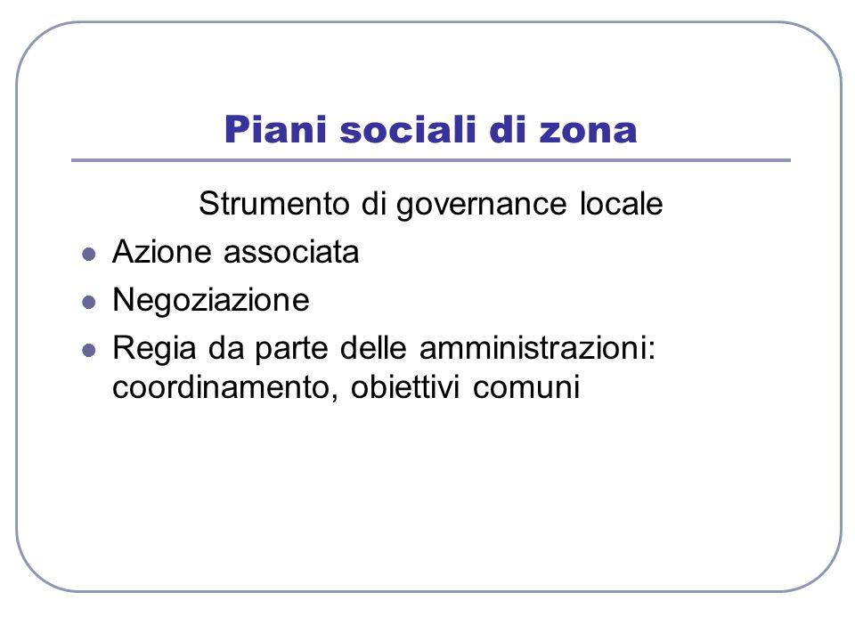 Piani sociali di zona Strumento di governance locale Azione associata Negoziazione Regia da parte delle amministrazioni: coordinamento, obiettivi comu
