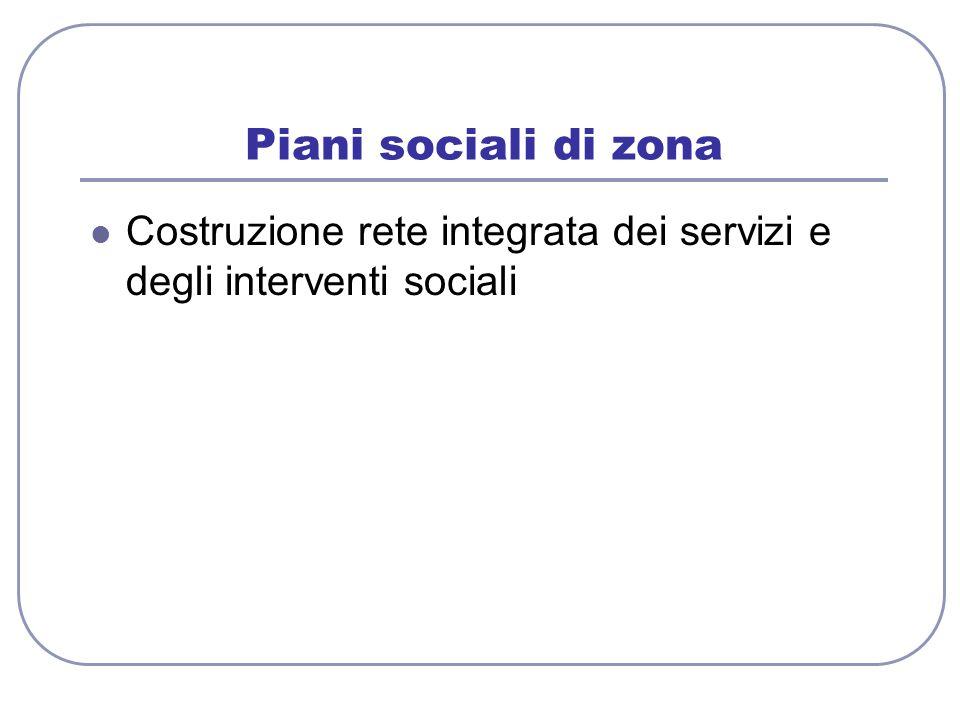 Piani sociali di zona Costruzione rete integrata dei servizi e degli interventi sociali