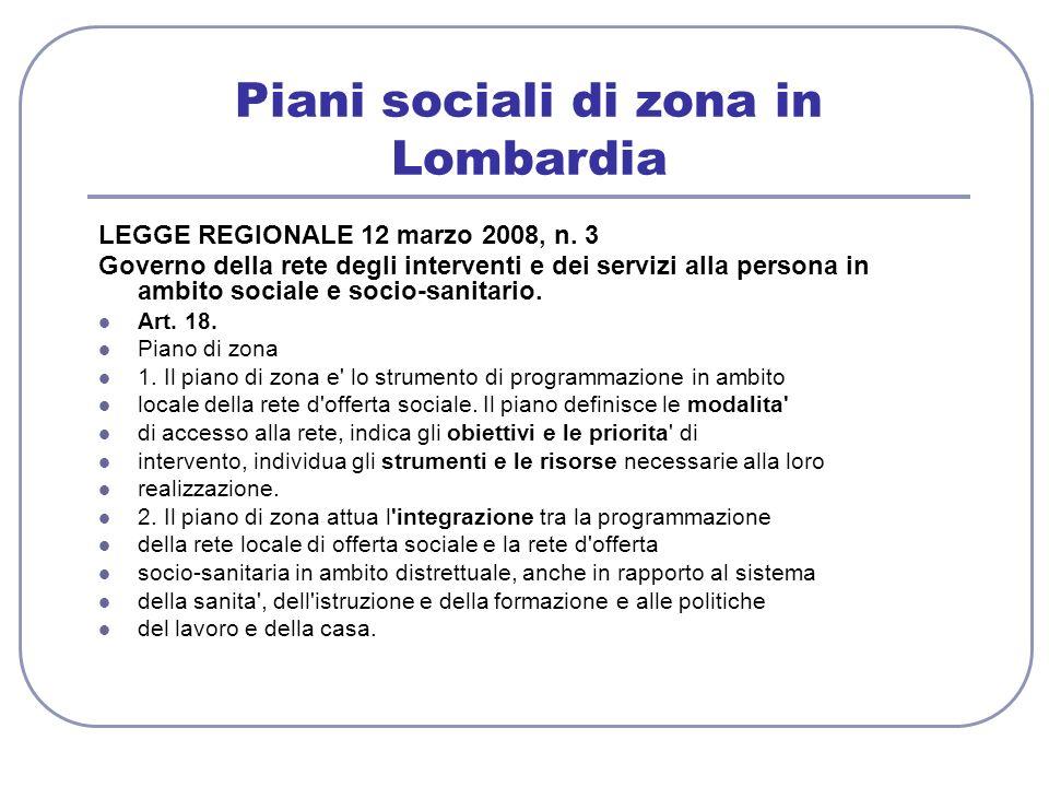 Piani sociali di zona in Lombardia LEGGE REGIONALE 12 marzo 2008, n. 3 Governo della rete degli interventi e dei servizi alla persona in ambito social