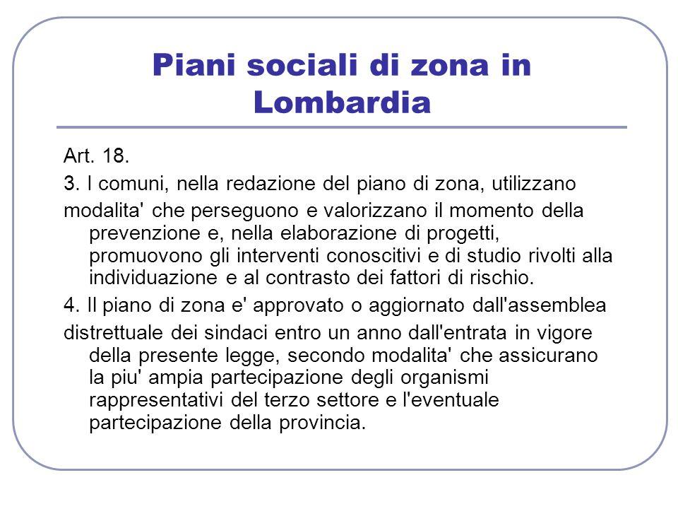 Piani sociali di zona in Lombardia Art. 18. 3. I comuni, nella redazione del piano di zona, utilizzano modalita' che perseguono e valorizzano il momen