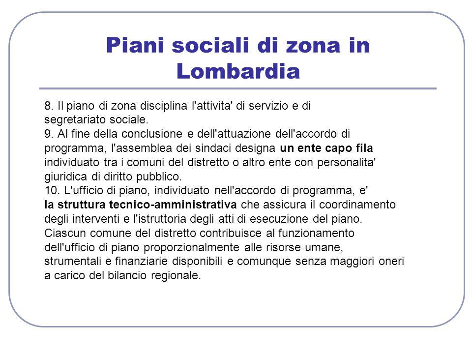 Piani sociali di zona in Lombardia 8. Il piano di zona disciplina l'attivita' di servizio e di segretariato sociale. 9. Al fine della conclusione e de