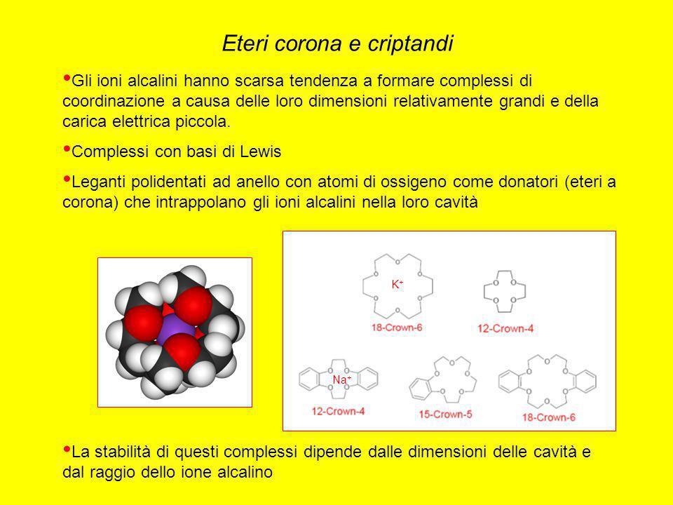 Gli ioni alcalini hanno scarsa tendenza a formare complessi di coordinazione a causa delle loro dimensioni relativamente grandi e della carica elettri