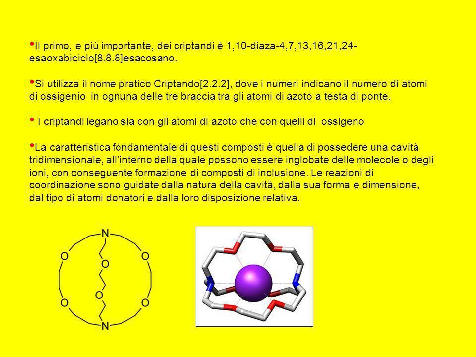 Il primo, e più importante, dei criptandi è 1,10-diaza-4,7,13,16,21,24- esaoxabiciclo[8.8.8]esacosano.