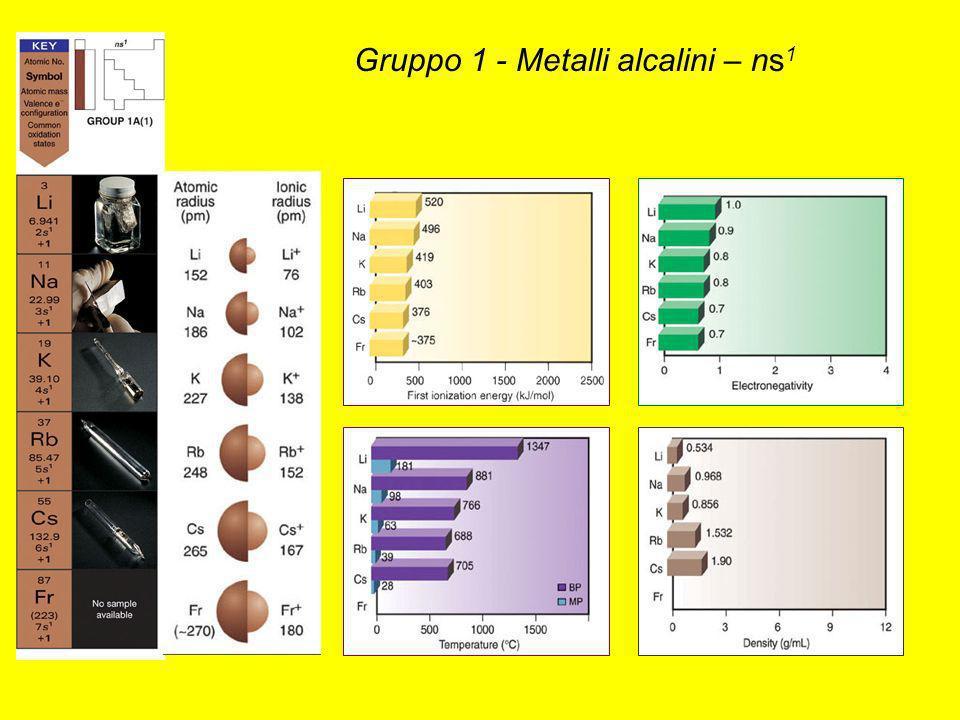 Gruppo 1 - Metalli alcalini – ns 1