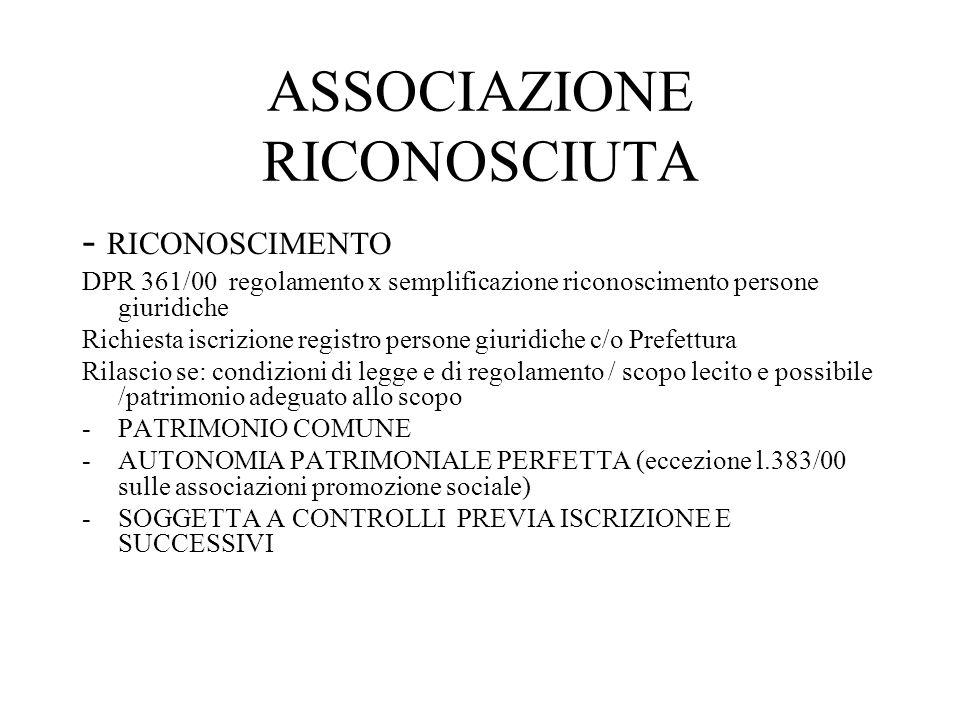 ASSOCIAZIONE NON RICONOSCIUTA Manca il riconoscimento :regolamento dagli accordi degli associati FONDO COMUNE AUTONOMIA PATRIMONIALE IMPERFETTA (art.38) NESSUN CONTROLLO NE REGISTRAZIONE