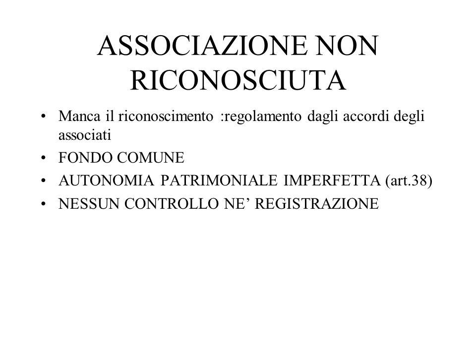 ASSOCIAZIONE NON RICONOSCIUTA Manca il riconoscimento :regolamento dagli accordi degli associati FONDO COMUNE AUTONOMIA PATRIMONIALE IMPERFETTA (art.3