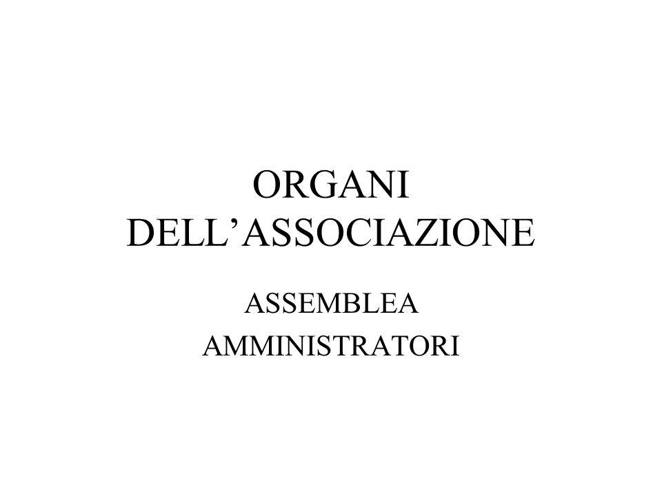 ORGANI DELLASSOCIAZIONE ASSEMBLEA AMMINISTRATORI
