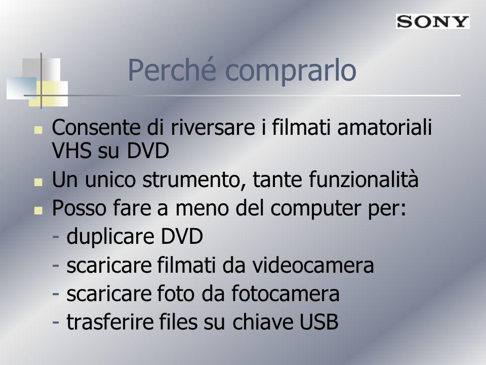 Perché comprarlo Consente di riversare i filmati amatoriali VHS su DVD Un unico strumento, tante funzionalità Posso fare a meno del computer per: - du
