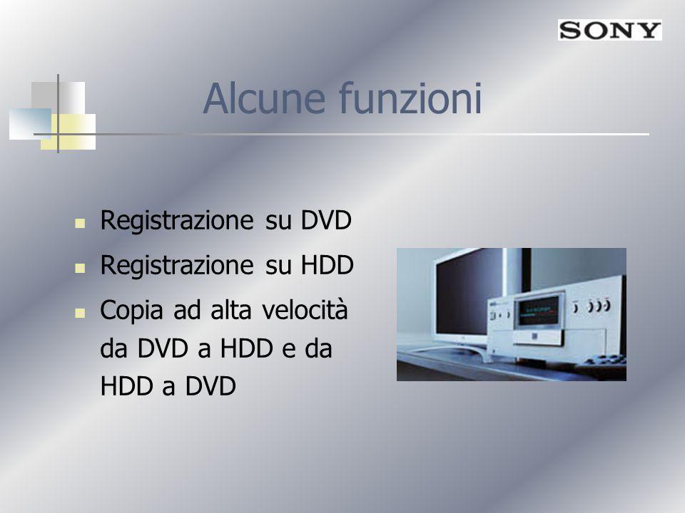Alcune funzioni Registrazione su DVD Registrazione su HDD Copia ad alta velocità da DVD a HDD e da HDD a DVD