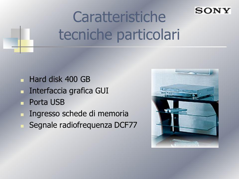 Caratteristiche tecniche particolari Hard disk 400 GB Interfaccia grafica GUI Porta USB Ingresso schede di memoria Segnale radiofrequenza DCF77