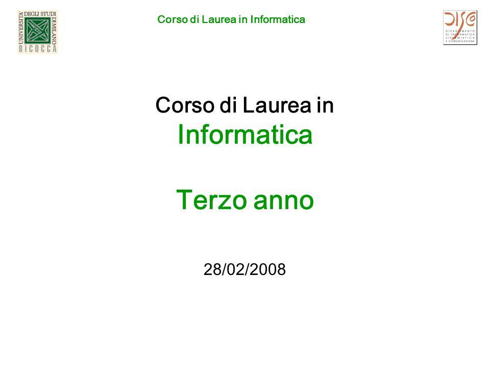 Corso di Laurea in Informatica Corso di Laurea in Informatica Terzo anno 28/02/2008