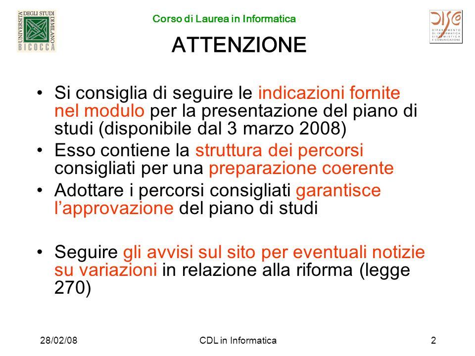 Corso di Laurea in Informatica 28/02/08CDL in Informatica3 Esami obbligatori –Fisica generale 1 –Teoria dellInformazione (codici e crittografia) oppure –Economia e Organizzazione Aziendale