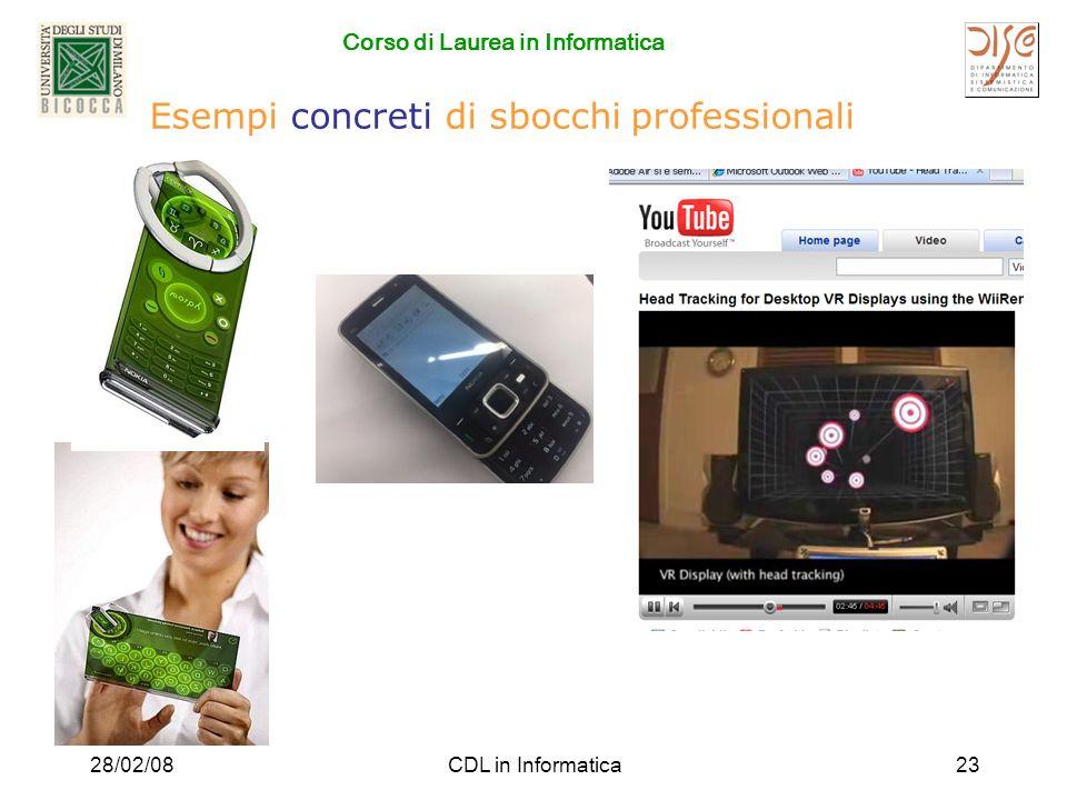 Corso di Laurea in Informatica 28/02/08CDL in Informatica23 Esempi concreti di sbocchi professionali
