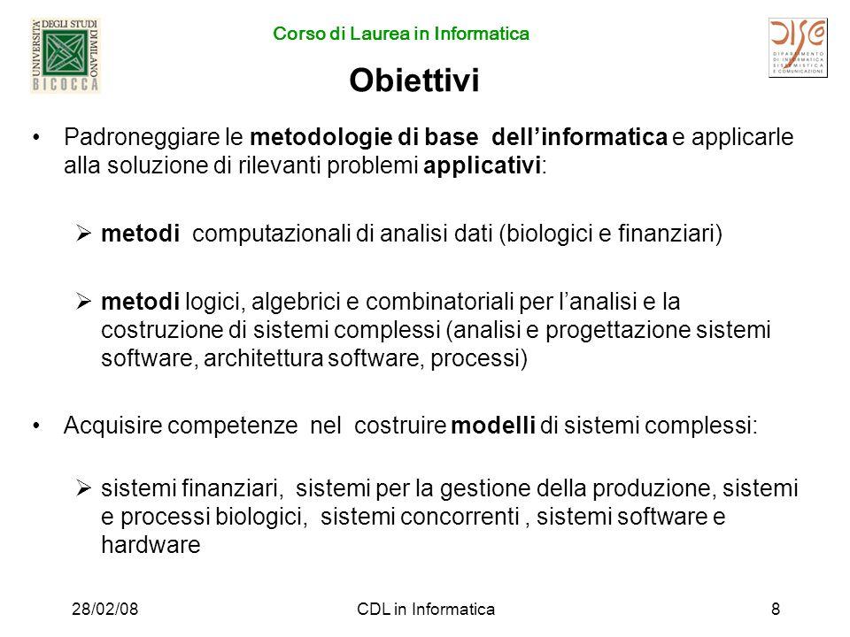 Corso di Laurea in Informatica 28/02/08CDL in Informatica19 Insegnamenti