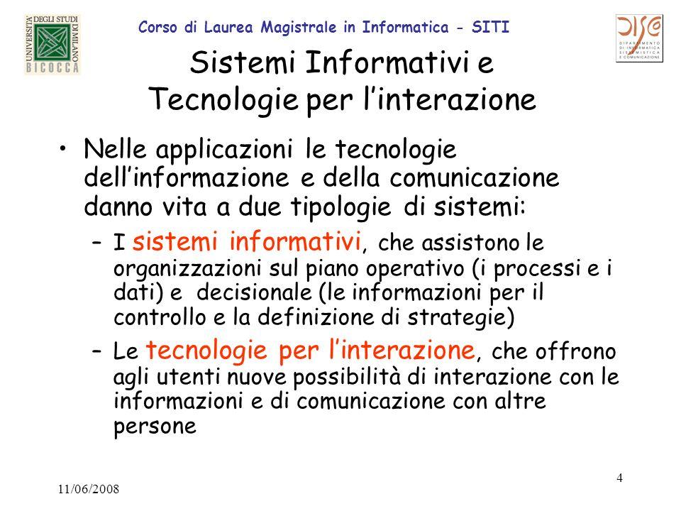 Corso di Laurea Magistrale in Informatica - SITI 11/06/2008 5 Obiettivi, Sfide e frontiere nei sistemi informativi Contribuire al miglioramento dei servizi (Es.