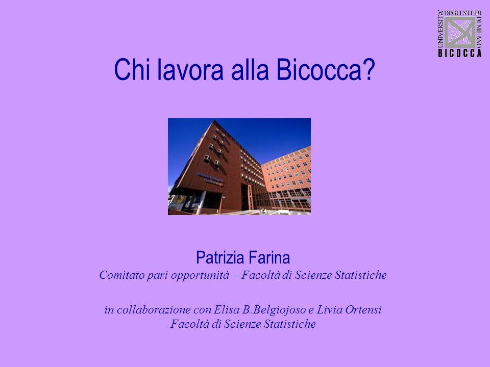 Chi lavora alla Bicocca? Patrizia Farina Comitato pari opportunità – Facoltà di Scienze Statistiche in collaborazione con Elisa B.Belgiojoso e Livia O