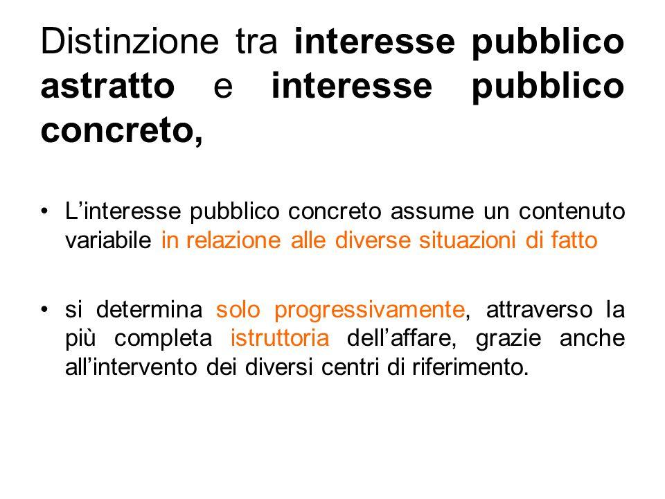 Distinzione tra interesse pubblico astratto e interesse pubblico concreto, Linteresse pubblico concreto assume un contenuto variabile in relazione alle diverse situazioni di fatto si determina solo progressivamente, attraverso la più completa istruttoria dellaffare, grazie anche allintervento dei diversi centri di riferimento.