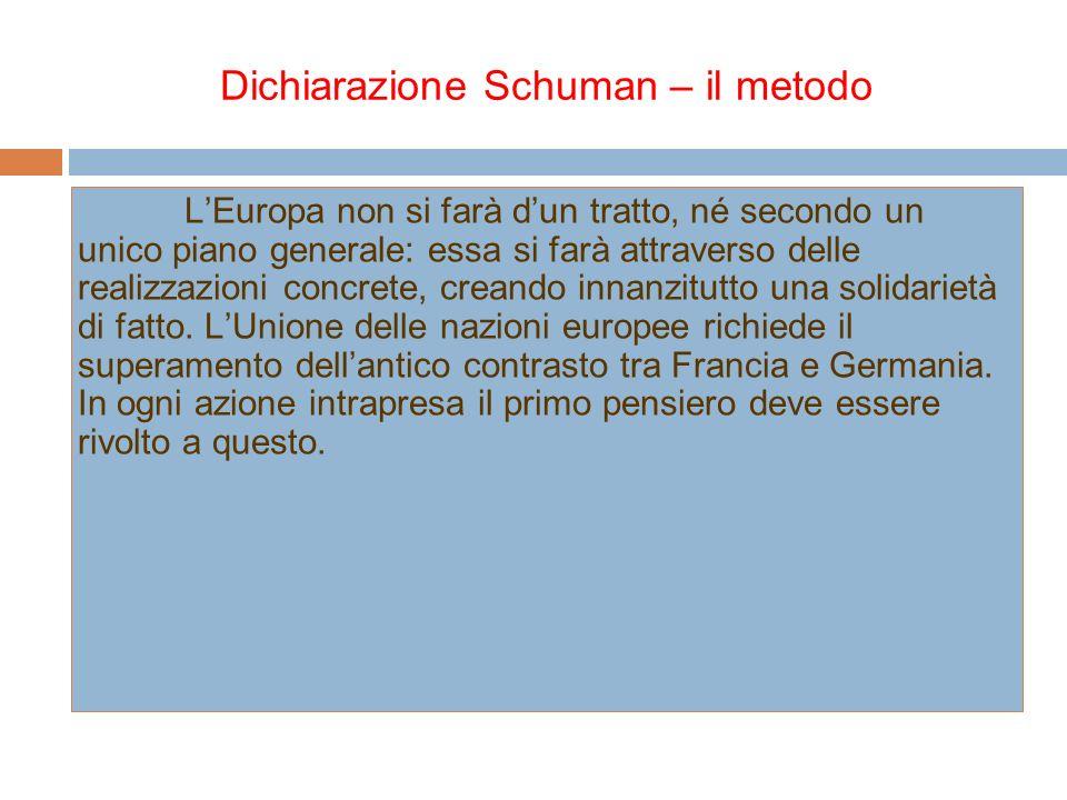 Dichiarazione Schuman – gli strumenti La gestione comune di carbone ed acciaio permetterà subito di elaborare le basi per lo sviluppo economico, primo passo nel processo europeo di federazione.