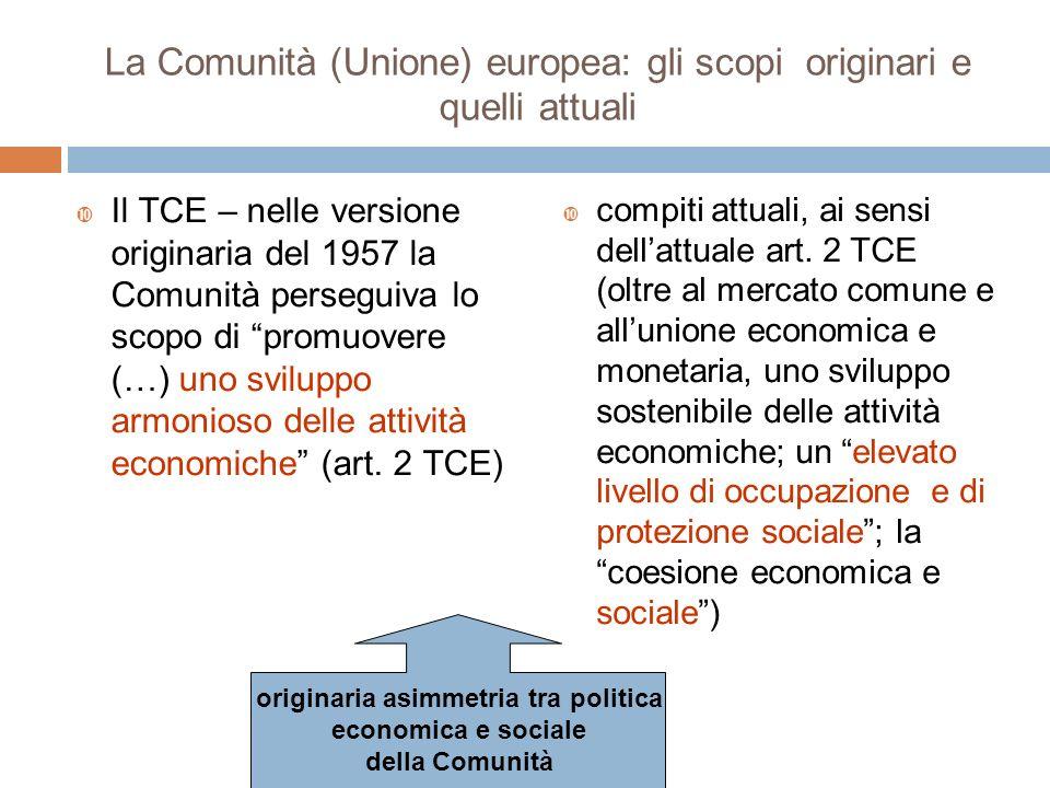 La Comunità (Unione) europea: gli scopi originari e quelli attuali Il TCE – nelle versione originaria del 1957 la Comunità perseguiva lo scopo di prom