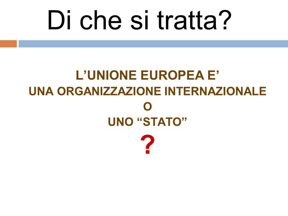 Di che si tratta? LUNIONE EUROPEA E UNA ORGANIZZAZIONE INTERNAZIONALE O UNO STATO ?