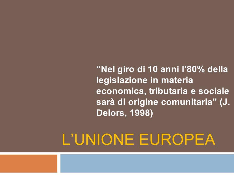 LUNIONE EUROPEA Nel giro di 10 anni l80% della legislazione in materia economica, tributaria e sociale sarà di origine comunitaria (J. Delors, 1998)