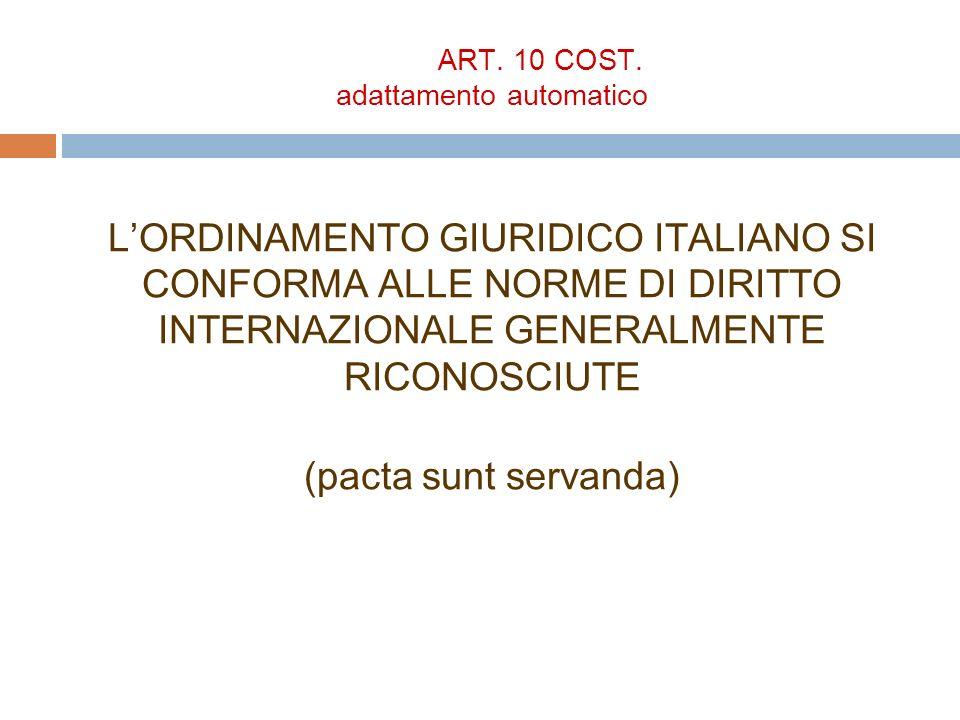 ART. 10 COST. adattamento automatico LORDINAMENTO GIURIDICO ITALIANO SI CONFORMA ALLE NORME DI DIRITTO INTERNAZIONALE GENERALMENTE RICONOSCIUTE (pacta