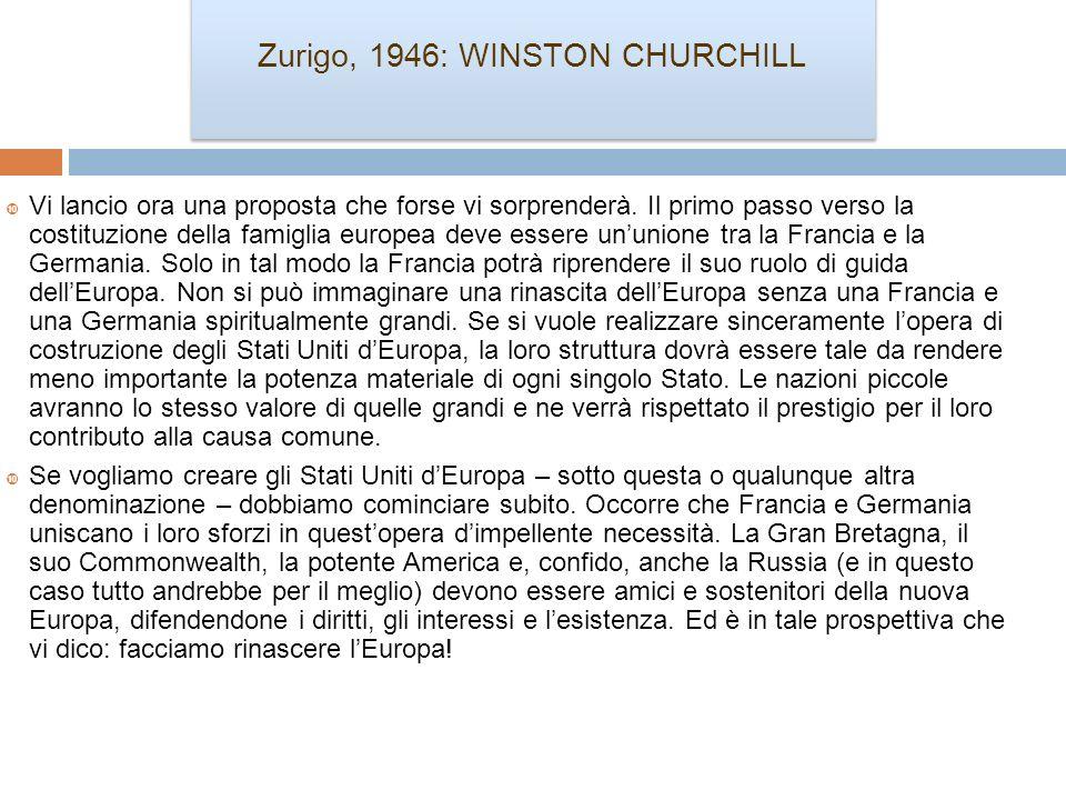 Zurigo, 1946: WINSTON CHURCHILL Vi lancio ora una proposta che forse vi sorprenderà. Il primo passo verso la costituzione della famiglia europea deve
