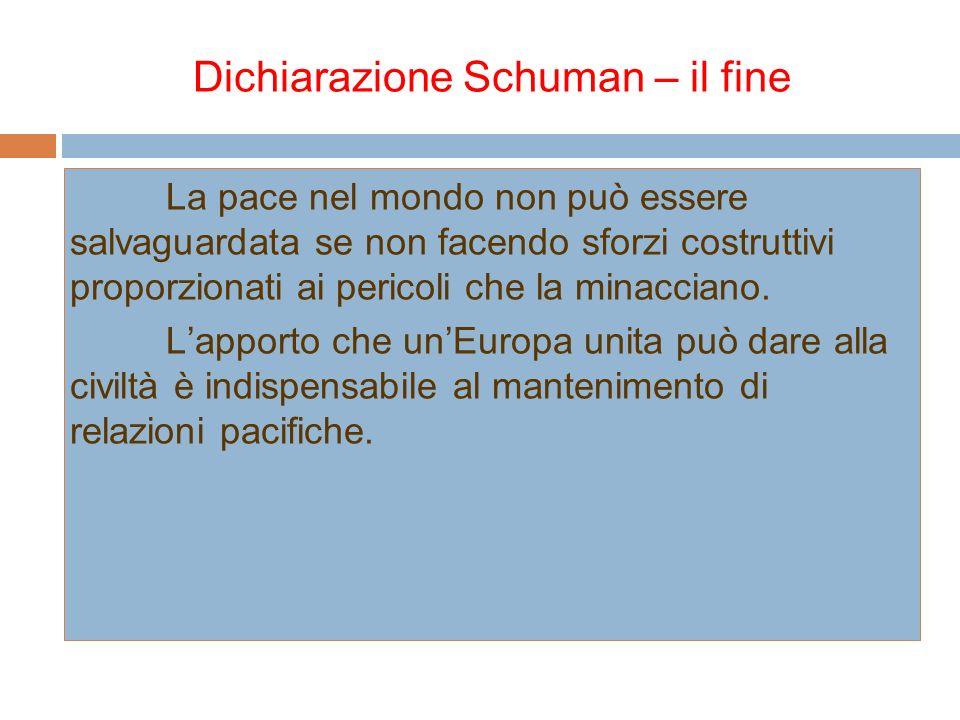 Dichiarazione Schuman – il fine La pace nel mondo non può essere salvaguardata se non facendo sforzi costruttivi proporzionati ai pericoli che la mina
