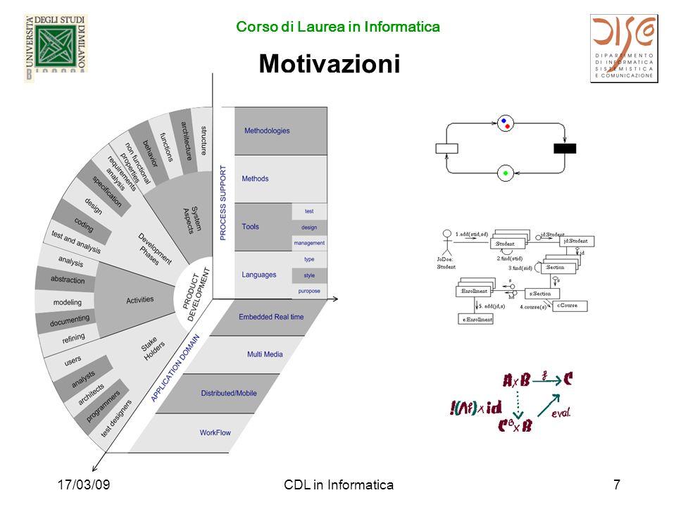 Corso di Laurea in Informatica 17/03/09CDL in Informatica7 Motivazioni