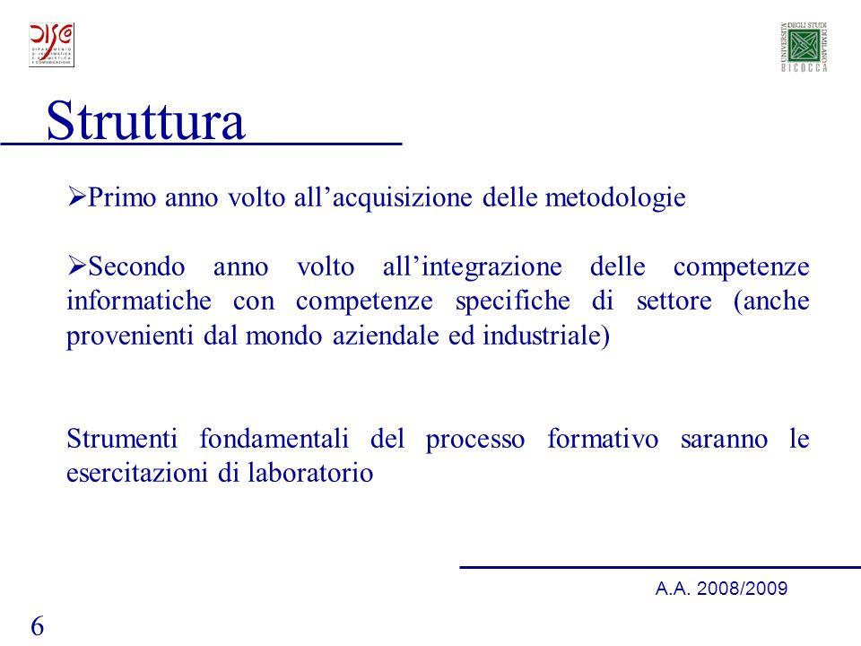 6 A.A. 2008/2009 Struttura Primo anno volto allacquisizione delle metodologie Secondo anno volto allintegrazione delle competenze informatiche con com