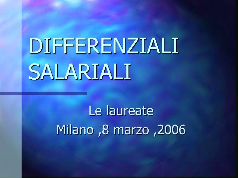DIFFERENZIALI SALARIALI Le laureate Milano,8 marzo,2006