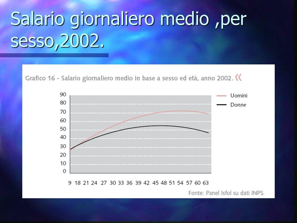 Salario giornaliero medio,per sesso,2002.